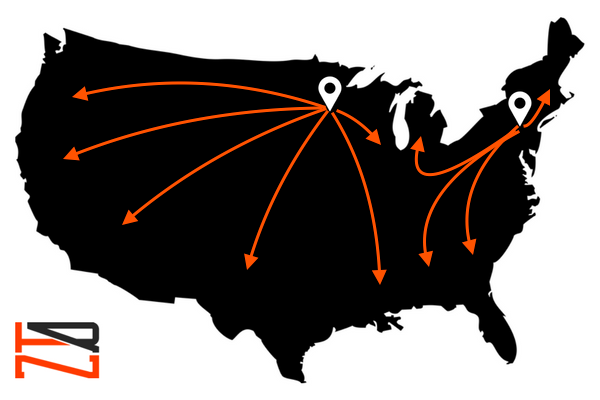 Map of the USA, location markers at the PRN shipping locations